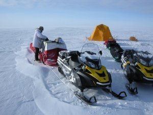 """Chris attempting to streamline """"the science sled""""."""