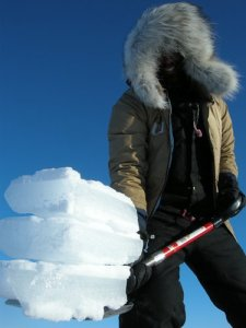 """Nate chipping through brutally hard ice... and smiling!"""""""