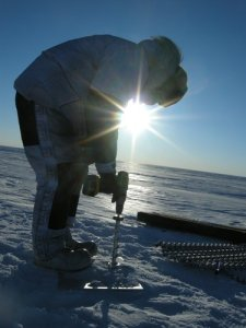 Mike drilling the 10 meter hole at 2:00 AM for temperature measurements