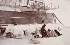 Nansen's preparations alongside the FRAM, 1894. He was famous for his meticulous attention to details of readiness (from National Library of Norway)