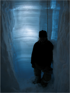 Zoe in a 3 meter backlit snow pit near Summit.